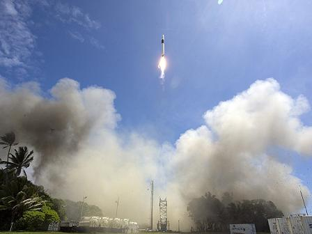 SpaceX\'s Falcon 1 rocket takes off on first successful flight.