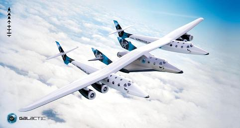Artist's conception of WhiteKnight2/SpaceShipTwo in flight (credit: Virgin Galactic)