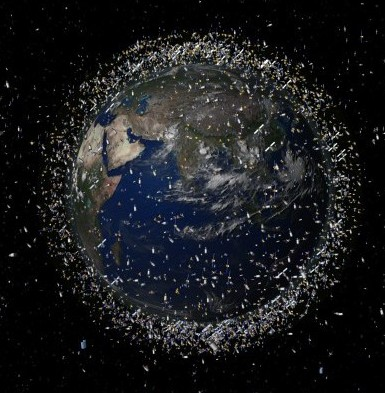Computer generated image showing the debris cloud around Earth.