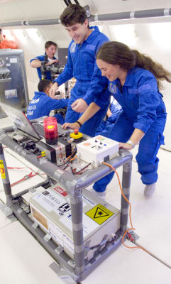 Students performe an experiment in microgravity aboard the Airbus A300 Zero
