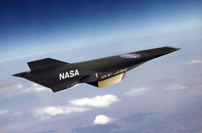 X-43A Hypersonic Experimental Vehicle -- Artist Concept in Flight. Credit: NASA Dryden Flight Research Center.