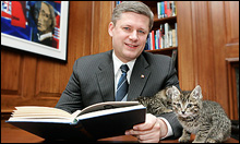 Stephen Harper and cat.