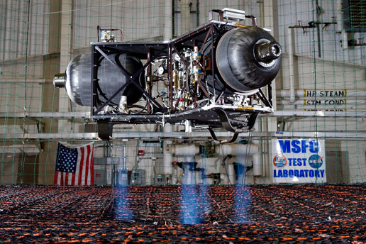 NASA's Marshall Space Flight Center is testing a new robotic lunar lander test bed that will aid in the development of a new generation of multi-use landers for future robotic space exploration. Image Credit: NASA/MSFC/David Higginbotham