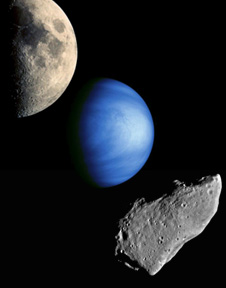 From top to bottom, pictured (not to scale) are the moon, Venus, and an asteroid. These three celestial bodies from our solar system are possible candidates for NASA's next space venture.