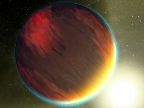 This artist's concept shows a cloudy Jupiter-like planet that orbits very close to its fiery hot star. NASA/JPL-Caltech/T. Pyle (SSC)