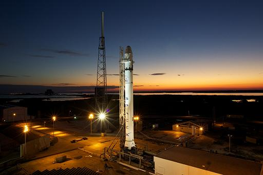 SpaceX's Falcon 9 on the pad at Cape Canaveral. (Credit: Chris Thompson/SpaceX)