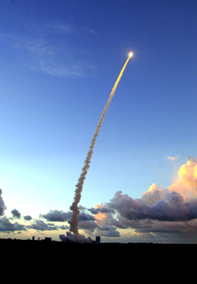 Ariane 5 lifts off from Kourou.