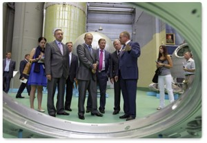 Russian Prime Minister Vladimir Putin tours RSC Energia in July. (Credit: Russian Federation Government)