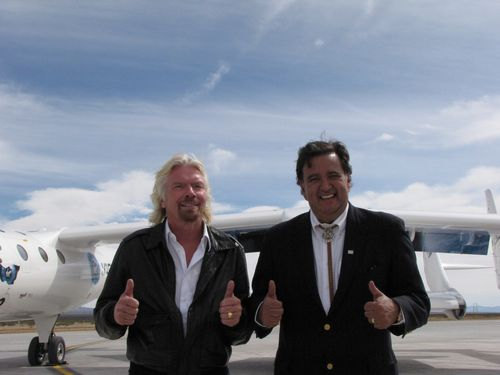 Four big thumbs up from Richard Branson and then New Mexico Gov. Bill Richardson at the Spaceport America runway dedication in 2010. (Credit: Douglas Messier)
