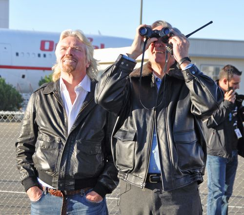 Richard Branson and Burt Rutan watch from the ground. (Credit: Bill Deaver)