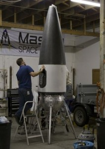The Xaero vehicle during assembly November 2010. (Credit: Masten Space Systems)