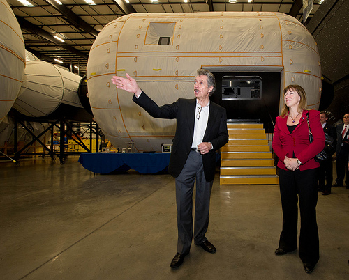 NASA Deputy Administrator Lori Garver is given a tour of the Bigelow Aerospace facilities by the company's President Robert Bigelow on Friday, Feb. 4, 2011, in Las Vegas. (NASA/Bill Ingalls)