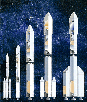 The Russo-Brazilian Southern Cross family of rockets. (Credit: CLA)