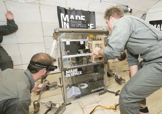Made in Space tests a 3D printer in microgravity. (Credit: Made in Space)