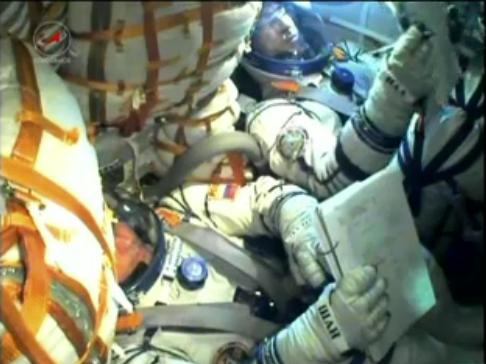 Soyuz TMA-22 crew in space. (Credit: NASA TV)
