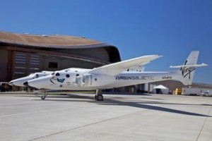 "WhiteKnightTwo is the ""mothership"" that carries SpaceShipTwo aloft before launch. The pair will carry paying passengers on a wild ride to suborbital space in years to come. Some observers predict flights will begin as early as 2013. Others caution the first tourists in space may have to wait a few more years. (Credit: David Wilson, Spaceport America)"