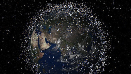 In addition to active satellites, a large number of items of debris that originated from collisions, decommissioned satellites or the spent upper stages of launch vehicles are currently in Earth orbit. Credit: ESA.