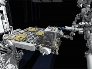 This artistic representation shows Dextre (right) performing a robotic refueling task on RRM (center) task box, mounted to ELC4. (Image: NASA)