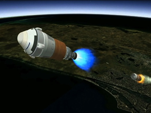This is an artist's conception of Boeing's CST-100 spacecraft separating from the first stage of its launch vehicle, a United Launch Alliance Atlas V rocket, following liftoff from Cape Canaveral Air Force Station in Florida. (Credit: Boeing)