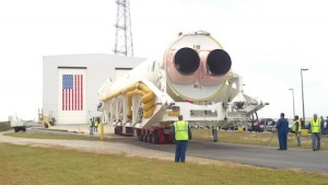Antares rolled out to the launch pad on Wallops Island. (Credit: NASA)