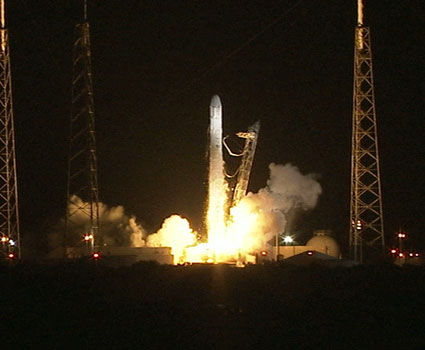 Falcon 9 launches on its first commercial resupply mission.