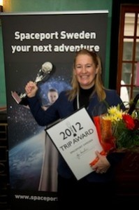 Carina Johnsson, operations manager at Spaceport Sweden with innovation award. (Credit: Spaceport Sweden)