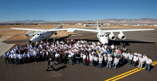 Richard Branson and the employees who built SpaceShipTwo and WhiteKnightTwo. (Photo credit: Mark Greenberg/Virgin Galactic)