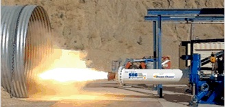 Dream Chaser hybrid motor test firing. (Credit: Sierra Nevada Corporation)