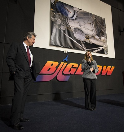 NASA Deputy Administrator Lori Garver and President and founder of Bigelow Aerospace, Robert T. Bigelow, announce a planned addition to the International Space Station that will use the orbiting laboratory to test expandable space habitat technology during a press conference held at Bigelow Aerospace on Wednesday, Jan. 16, 2013 in Las Vegas. The $17.8 million contract with Bigelow Aerospace will provide a Bigelow Expandable Activity Module (BEAM), which is scheduled to arrive at the space station in 2015 for a two-year technology demonstration. Photo Credit: (NASA/Bill Ingalls)
