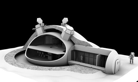 For ESA's 3D-printed lunar base concept, Foster+Partners devised a weight-bearing 'catenary' dome design with a cellular structured wall to shield against micrometeoroids and space radiation, incorporating a pressurised inflatable to shelter astronauts. (Credit: Foster + Partners)