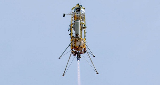 Masten Space Systems' Xombie technology demonstration rocket soars aloft, guided by Draper Lab's GENIE navigation and control system designed to land space vehicles on other bodies in the solar system. (Credit: NASA /Tom Tschida)