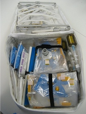Frequently used tools and supplies are packed into the Wet Lab Kit, a soft goods bag that measures 19.5 inches by 16.75 inches by 9.5 inches when full. The kit, a part of Wetlab 1, is available for those who have experiments onboard the International Space Station. (Credit: NASA)