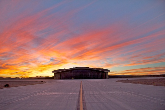 "Sunset at the ""Virgin Galactic Gateway to Space"" terminal hangar facility at Spaceport America. (Credit: Bill Gutman/Spaceport America)"