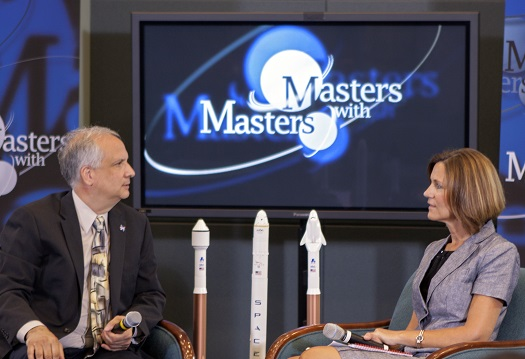 "Ed Hoffman, NASA's chief Knowledge officer, and Lisa Colloredo, associate program manager for Commercial Crew Program at Kennedy, discuss the program's formation and early results during the first ""Masters with Masters"" session. (Credit: NASA)"