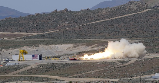 Large Class Stage I solid rocket motor static test. (Credit: ATK)