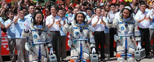 The Shenzhou 10 crew prior to launch. (Credit: CNSA)