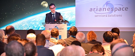Stéphane Israël speaks to reporters during the Paris Air Show press conference. (Credit: Arianespace)