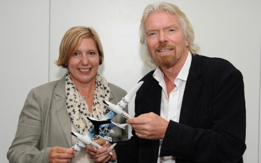 Virgin Galactic Founder Richard Branson with Marsha Waters, the 600th ticketholder on SpaceShipTwo. (Credit: The Virgin Group)
