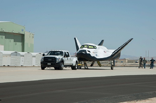 Sierra Nevada Corporation's Dream Chaser flight vehicle undergoes taxi tow testing on May 31 at NASA's Dryden Flight Research Center in California. (Credit: NASA)