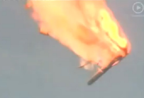 FAILI! A Proton takes a nose dive at Baikonur. (Credit: Tsenki TV)