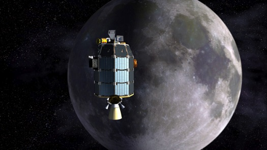 NASA's LADEE spacecraft approaching lunar orbit. (Credit: NASA)