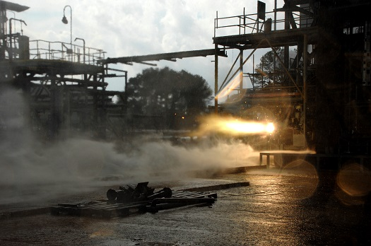 A 3-D printed rocket part blazes to life during a hot-fire test. (Credit: NASA/MSFC/David Olive)