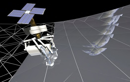The NIAC SpiderFab project is developing technologies to enable robotic spacecraft to fabricate giant antennas, solar arrays, and telescopes in space. (Credit: TUI)