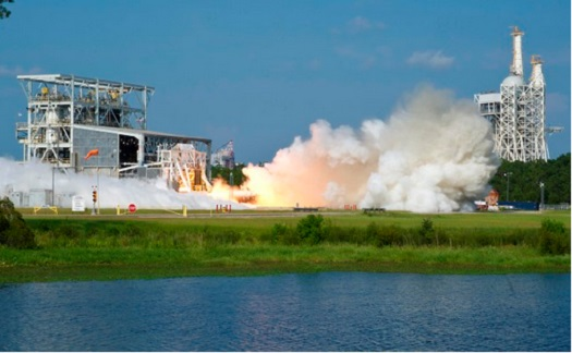 A successful acceptance test of the AJ26 engine on Aug. 8, 2013. (Credit: NASA)