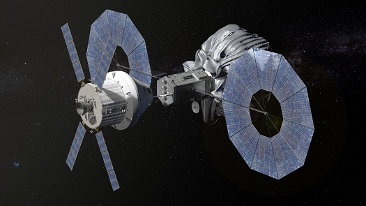 This conceptual image shows NASA's Orion spacecraft approaching the robotic asteroid capture vehicle. The trip from Earth to the captured asteroid will take Orion and its two-person crew an estimated nine days. (Credit: NASA)