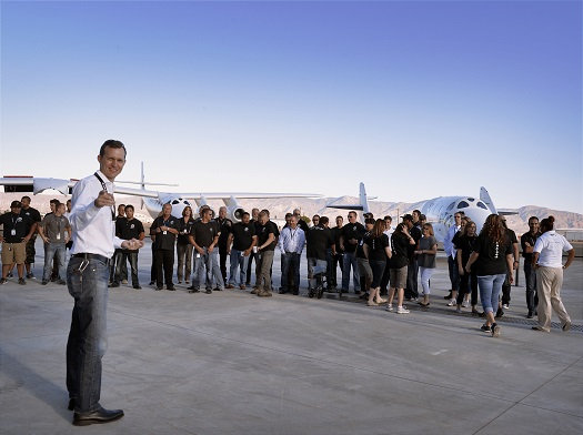 Virgin Galactic CEO George Whitesides speaks with current and prospective employees during Virgin Galactic's recent career fair at Mojave Air and Spaceport in California. (Credit: Virgin Galactic)