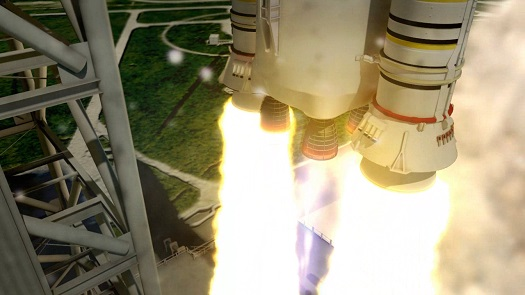 Artist rendering of the RS-25 engines powering the liftoff of the 70-metric-ton (77-ton) lift capacity configuration SLS from the pad. (Credit: NASA)