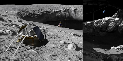 A mission concept to enter and explore a skylight on the Moon using Tyrobot. (Credit: Astrobotic Technology)