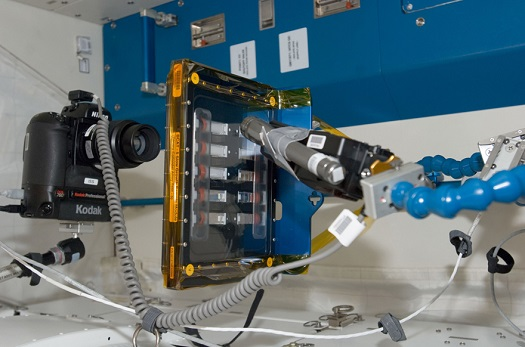 The BCAT-5 experiment set up in the Japanese Kibo Module of the International Space Station (ISS). BCAT-C1 will look similar. (Credit: NASA)