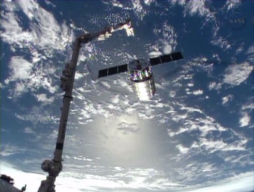 Cygnus is released from the International Space Station. (Credit: NASA)